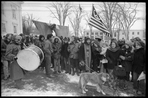 Thumbnail of Protesters, including Elliot Blinder and Catherine Blinder, lining up during a             demonstration against the invasion of Laos at the Vermont State House