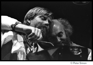 Thumbnail of Amazing Grace performing at Zellerbach Hall, U.C. Berkeley, with Allen Ginsberg Bhagavan Das (left) touching heads with Ram Dass