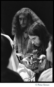 Thumbnail of Amazing Grace performing at Zellerbach Hall, U.C. Berkeley, with Allen Ginsberg From left: Gangadhar (tabla) and Jai Gopal (sarod)