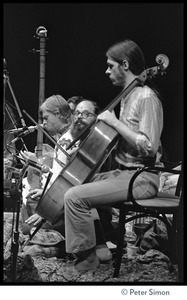 Thumbnail of Amazing Grace performing at Zellerbach Hall, U.C. Berkeley, with Allen Ginsberg From left: Bhagavan Das, Allen Ginsburg, unidentified cellist