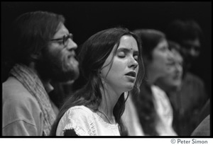 Thumbnail of Amazing Grace performing at Zellerbach Hall, U.C. Berkeley, with Allen Ginsberg From left: Ram Dev, unidentified woman singer