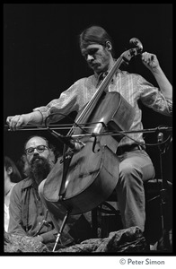 Thumbnail of Amazing Grace performing at Zellerbach Hall, U.C. Berkeley, with Allen Ginsberg Allen Ginsberg (left) and unidentified cellist
