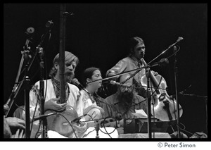 Thumbnail of Amazing Grace performing at Zellerbach Hall, U.C. Berkeley, with Allen Ginsberg From left: Bhagavan Das, Azima, Allen Ginsberg, unidentified cellist