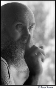 Thumbnail of Ram Dass: close-up portrait, gesturing with a finger, at the Rowe Center spiritual retreat
