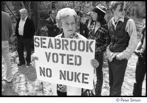 Thumbnail of Local resident (an older woman) holds up a sign reading 'Seabrook voted no nuke' at the occupation of Seabrook Nuclear Power Plant
