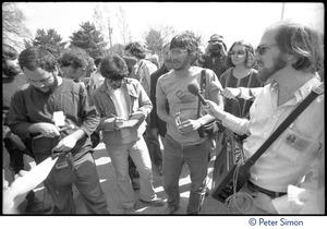 Thumbnail of Harvey Wasserman being interviewed during the occupation of Seabrook Nuclear Power Plant