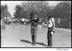 Thumbnail of Charles Light and assistant videotaping the protesters, during the occupation of Seabrook Nuclear Power Plant