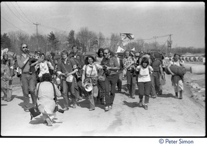 Thumbnail of Bagpiper leading a band of occupiers during the occupation of Seabrook Nuclear Power Plant