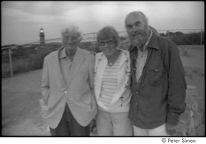 Thumbnail of Ram Dass and his folks: George and Phyllis Alpert posing with Ram Dass at Menemsha