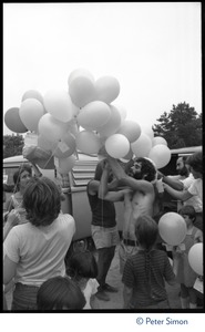 Thumbnail of Protesters preparing to release balloons at the Alternative Energy Coalition antinuclear demonstration on Montague             Plain