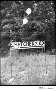 Thumbnail of Makeshift sign for East Hatchery Road, Montague, site of the Alternative Energy Coalition antinuclear demonstration on Montague             Plain
