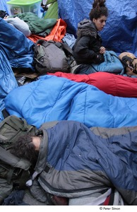 Thumbnail of Occupy Wall Street: demonstrators in sleeping bags