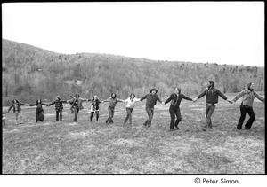 Thumbnail of May Day at Packer Corners commune: group holding hands, Elliot Blinder sixth from left