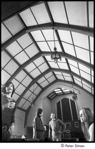 Thumbnail of Two unidentified men with Stuart Werbin (2nd from right) and Lacey Mason (right) in a small chapel