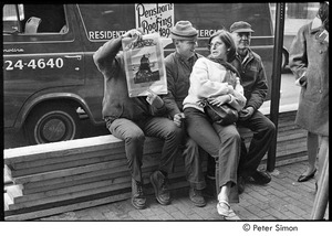 Thumbnail of Unidentified woman on a construction worker's lap, while another worker holds a copy of the Dec. 1967 issue of Avatar magazine