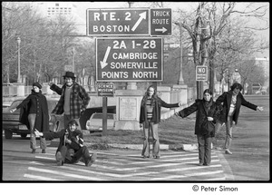 Thumbnail of Hitchhiking in Boston: (from left) Stephen Davis, Marcia Braun, Lacey Mason, three unidentified people, and a puppy