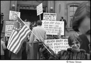 Thumbnail of Resistance rally: counter-protestors outside the Arlington Street Church, Sue Katz with American flag in the foreground