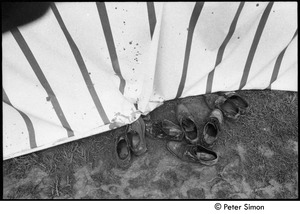 Thumbnail of Muddy shoes outside a tent, Resurrection City