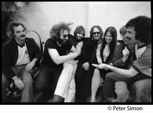Thumbnail of Grateful Dead group shot Left to right: Bill Kreutzman, Jerry Garcia, Bob Weir, Keith Godchaux, Donna             Jean Godchaux, Phil Lesh, Mickey Hart