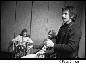 Thumbnail of Grateful Dead in the studio (Automated Sound) Right to left: Mickey Hart, Bob Weir, unidentified woman