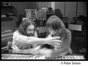 Thumbnail of Grateful Dead in the studio (Automated Sound) Right to left: Keith Olsen (producer, right) at the mixing board