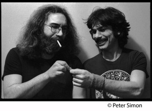 Thumbnail of Jerry Garcia (left) and Mickey Hart sharing a smoke: Grateful Dead in the studio (Automated Sound)
