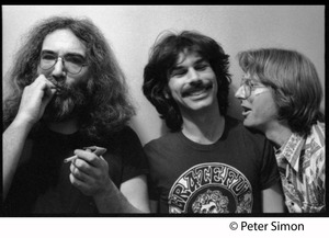 Thumbnail of Jerry Garcia (left) smoking, Mickey Hart, and Phil Lesh: Grateful Dead in the studio (Automated Sound)