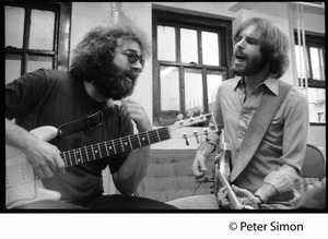 Thumbnail of Jerry Garcia and Bob Weir, singing and playing guitar: Grateful Dead in the studio (Automated Sound)