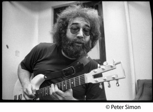 Thumbnail of Jerry Garcia with guitar in the studio: Grateful Dead recording at Automated Sound