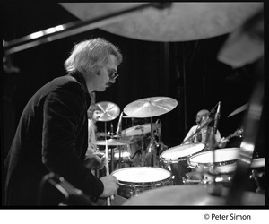 Thumbnail of Grateful Dead in rehearsal on stage: Bill Kreutzman (drums)