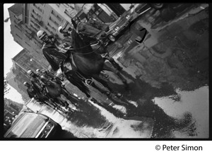 Thumbnail of Mounted police patrol on rain soaked streets