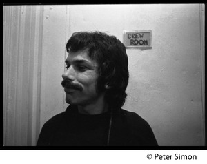 Thumbnail of Mickey Hart, standing by the crew room door