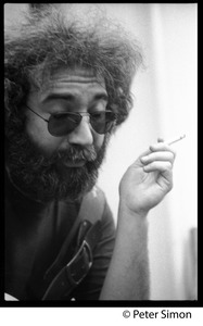 Thumbnail of Jerry Garcia: portrait close-up, smoking a cigarette