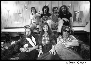Thumbnail of Grateful Dead backstage (rear, left to right): Bob Weir, Mickey Hart, Bill             Kreutzman,Jerry Garcia; (front) Keith Godchaux, Donna Godchaux, Phil Lesh