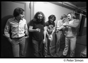Thumbnail of Grateful Dead backstage (left to right): Bob Weir, Jerry Garcia, Mickey Hart, Phil Lesh, and Bill             Kreutzman