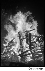 Thumbnail of After the Maypole celebration, Packer Corners commune: a roaring bonfire