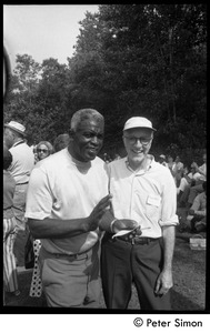 Thumbnail of Jackie Robinson (left) with George T. Simon at Robinson's summer jazz concert