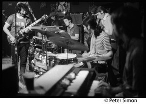 Thumbnail of Grateful Dead performing at the Ark L. to r.: Jerry Garcia (guitar), Pigpen McKernan (keyboards), Bill Kreuzman (drums),             Mickey Hart (drums), Bob Weir (guitar), Tom Constanten (keyboards)