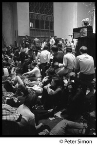 Thumbnail of Sanctuary and occupation of Marsh Chapel, Boston University View of students sitting in, in front of the pulpit