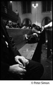Thumbnail of Sanctuary movement and occupation of Marsh Chapel, Boston University Students sitting in the pews during the occupation