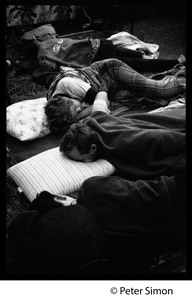 Thumbnail of Sanctuary movement and occupation of Marsh Chapel, Boston University Students sleeping under blankets outside the Chapel
