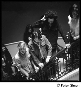 Thumbnail of Antiwar protesters occupying University Hall, Harvard University Students lined up along the railing of a spiral staircase