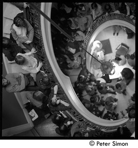 Thumbnail of Antiwar protesters occupying University Hall, Harvard University View from atop the stairs down on the crowd of protesters in the lobby