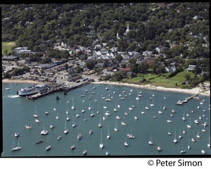 Thumbnail of Aerial view of the harbor at Vineyard Haven, Marthas Vineyard, with the M/V             Islander in the dock