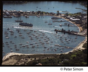 Thumbnail of Aerial view of the harbor at Vineyard Haven, Marthas Vineyard, with the M/V             Islander nearing the dock