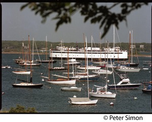 Thumbnail of M/V Islander ferry from Woods Hole with moored boats in the harbor at Vineyard             Haven, Marthas Vineyard
