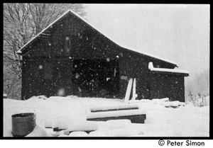 Thumbnail of Communal barn in falling snow, Packer Corners commune
