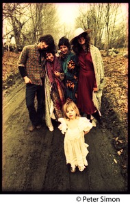 Thumbnail of A Fambly trip, May Day Tim Rossner, unidentified woman, Jenny Buell, Catherine Blinder, and child on a dirt road             near Tree Frog Farm commune