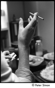 Thumbnail of Smoking a marijuana cigarette backstage during Peter Tosh's appearance on Saturday Night Live