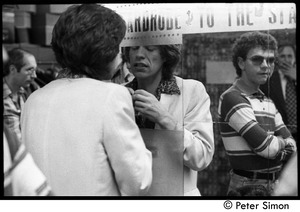 Thumbnail of Mick Jagger in make-up mirror before for his appearance with Peter Tosh on Saturday Night Live